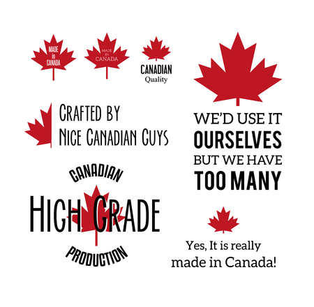 humorous: Made in canada humorous typographic labels isolated on white.  Illustration