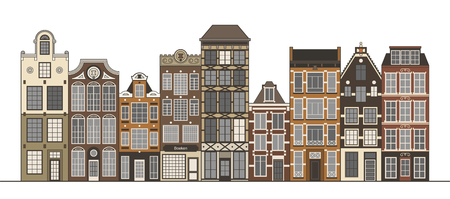 rows: Amsterdam narrow houses standing in a row isolated on white.