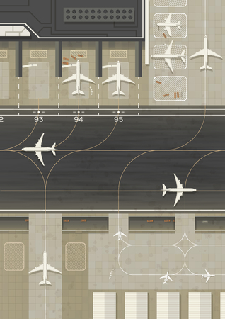 Top view of an airport with 3 types of planes. Simple flat graphic.
