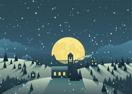 snowfall: Night snowfall in a cute little mountain village.