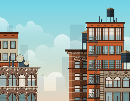 old and new: Cartoon New York rooftops. Old style architecture.