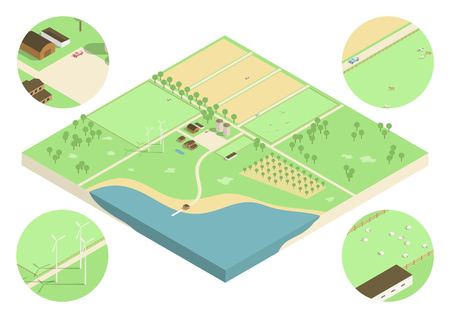 flocks: Isometric low detail illustration of a farmland with fields, flocks of sheep and trucks.
