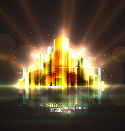 megapolis: Bright abstract image of a large night city burning in lights and illumination.