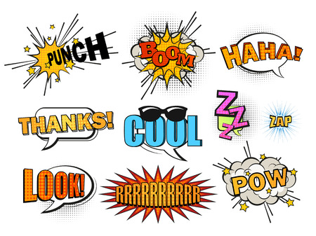 Set of cool and dynamic comic speech bubbles. 向量圖像