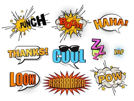 Set van leuke en dynamische comic tekstballonnen.