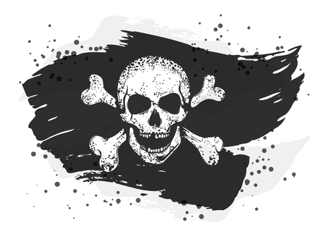 Grungy torn jolly roger flag with a skull and crossed bones.