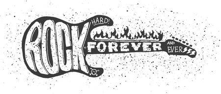 Koele grunge hand getrokken elektrische gitaar met vervormde tekst erin.