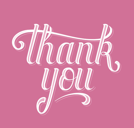 handwritten: Thank you. Hand drawn letters message. Vector hand lettering inscription.