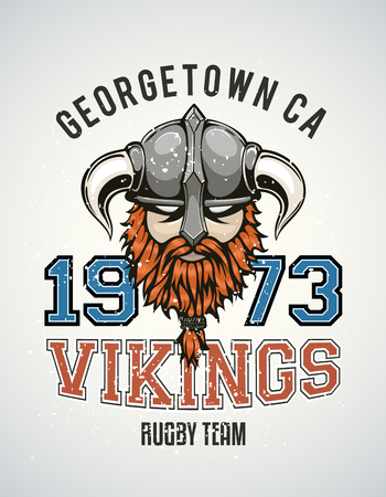 brutal: Cool and tough sports team vector logo with a brutal viking warrior with a horned helmet and a red beard. Sample text goes around the badge. Illustration