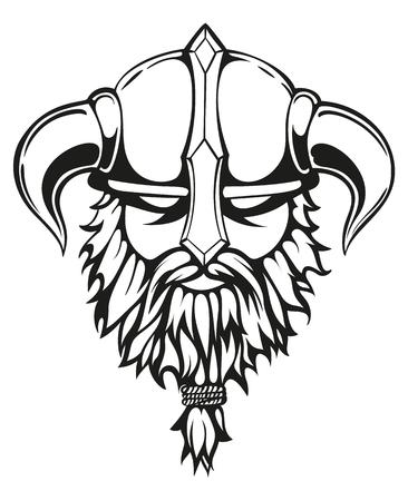 Brutal guerrero vikingo contornos monocromos ilustración. Viking cabeza con un casco con cuernos y una barba. Ilustración del vector. Ilustración de vector