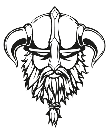 Brutal Wikinger Krieger monochrome Konturen Illustration. Viking Kopf mit einem gehörnten Helm und einem Bart. Vektor-Illustration. Standard-Bild - 56866974