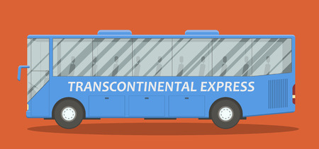 scalable: EPS10 vector illustration of a blue bus side view. Urban passenger couch scalable image.