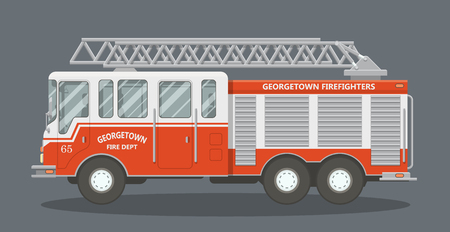 emergency response: Side view of a red fire truck. Vector illustration of a fire engine. Illustration