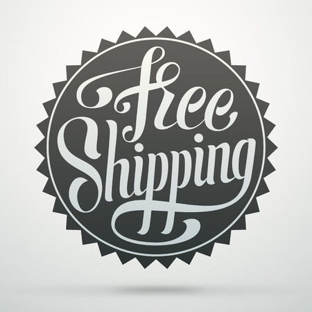 free hand: Hand lettering badge. Free shipping calligraphic tag for decorating a web store. Illustration