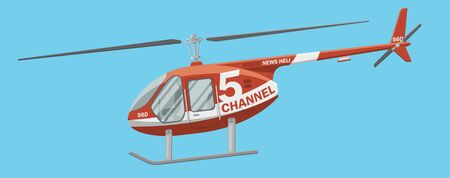 heli: Red news helicopter in the air vector illustration. Side view of a civil brandless heli.