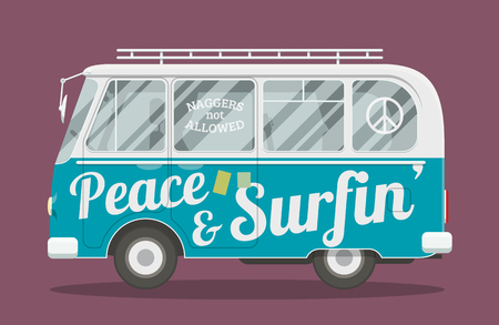 woodstock: Old style brandless hippie van. Vector illustration of a retro surfers minivan side view. Illustration