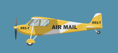 airplane: Yellow mail small airplane. Side view of a little civil plane vector illustration. Illustration