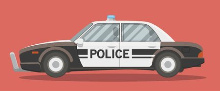interceptor: Black and white classic police car vector illustration. Side view, cartoon style.