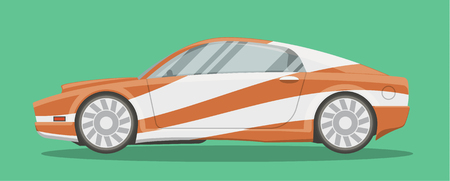 car side view: Vector resizable modern sportscar illustration. Brandless race car side view cartoon style.