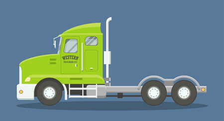 american cities: Cartoon style flat illustration of a semi truck side view. EPS10 vector scalable image of a heavy freighter truck. Illustration