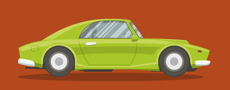 car side view: Retro brandless race car side view vector illustration.