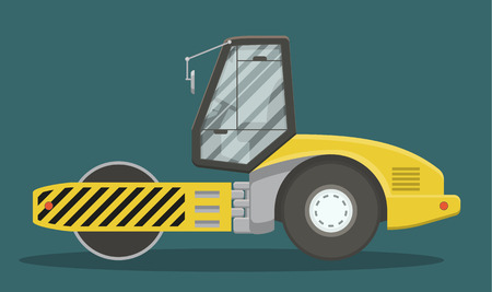 construction machinery: Vector asphalt compactor side view. EPS10 vector illustration of heavy construction machinery.