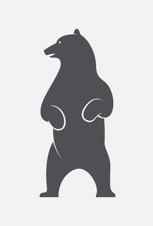 oso: De pie cabeza de oso volvió logo izquierda. Esquema oso vector EPS10. Vectores