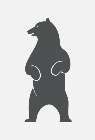Standing bear head turned left logo. EPS10 vector bear outline.
