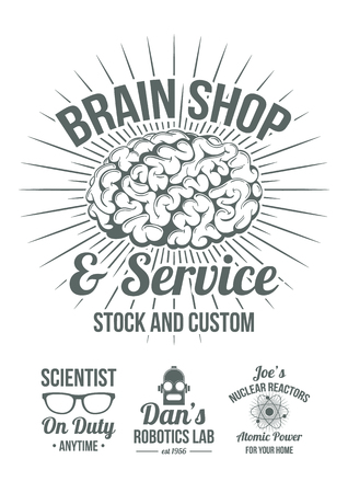 brain: Funny retro-futuristic style scientific shops advertisement badges. Cool old style graphic logos for store advertising. Brain shop, scientist on duty, Robotics lab, domestic nuclear reactors.