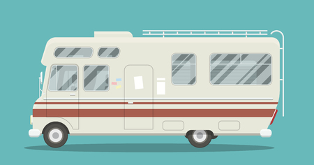 Cool illustration of a brand less camper side view. EPS10 vector image of an old motor home.