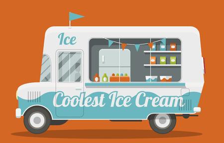 アイスクリームのバンの側面の素敵な漫画スタイルのイラスト。それはフラグと塗られた青と白で飾られて。アイスクリーム、冷蔵庫内のパック。EPS10 ベクトル画像。 写真素材 - 56866091