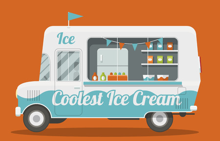 Nice cartoon style illustration of a ice cream van side view. It is Decorated with flags and painted blue and white. Packs of ice cream and a fridge inside. EPS10 vector image. Иллюстрация