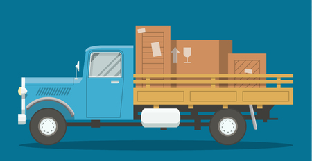 Flat old retro cargo truck loaded with boxes side view illustration. EPS10 vector image of a lorry. Vectores
