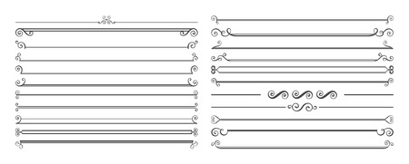 Set of 20 horizontal page dividers. Collection of retro rulers for text decoration. Illustration