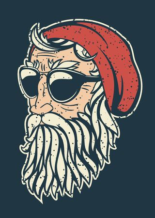 Trendy hipster Santa Claus vector illustration. Santa head half turned simple comic heavy contour style drawing. Stylish beard and sunglasses.