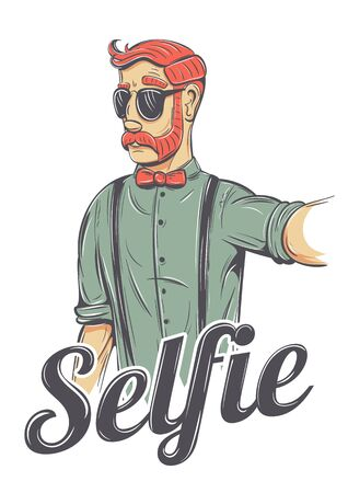 mutton: Young redhead man making a selfie vector illustration. Chic hipster in sunglasses, bow tie, he has mutton chops style mustache and a cool look.