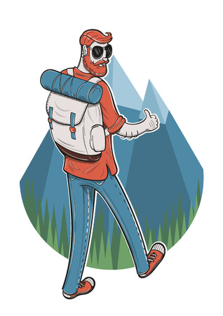 beard man: Vector illustration of a male tourist with a thumbs up going trekking. Illustration