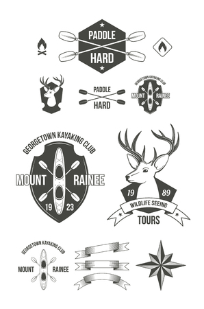 kayaking: Cool modern touristic and hunting theme badges set. Contains ribbons with copyspaces for extra text. Good signs for kayaking and wildlife sightseeing tours.