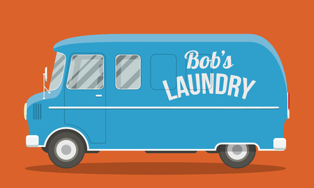 illustration cool: Cool vector illustration of a blue laundry van side view. EPS10 vector flat image of an urban vehicle.