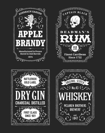 Zestaw etykiet alkoholowych z rumem, whisky i ginem