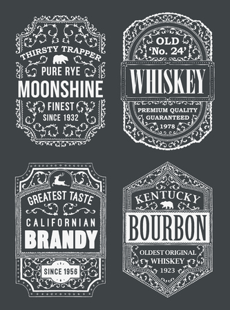 Alcohol Labels Set with bourbon, brandy and whiskey Illustration