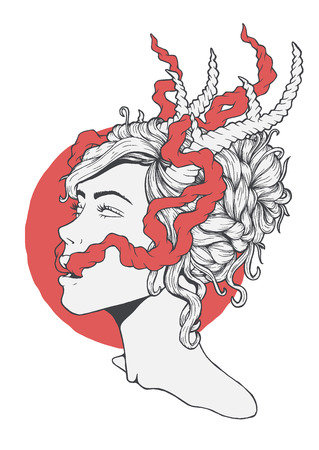 Beautiful smoking girl portrait with deer horns on her head. Vector illustration of an ecstatic woman in a psychedelic experience. Illustration