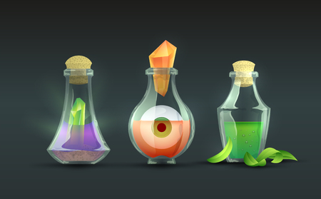 Magic potions in bottles icon.