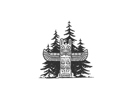 Indian Totem in the Woods vector illustration Illustration