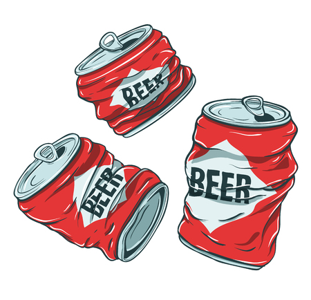 Beer Cans on White Çizim