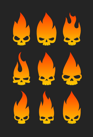 Spooky burning human skulls collection. Illustration