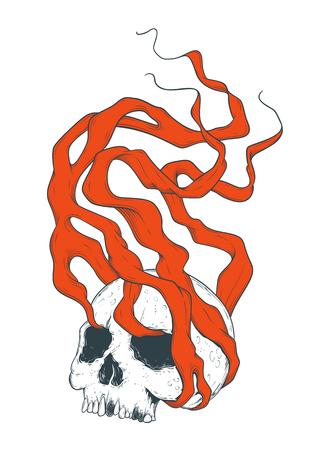 A Smoking Skull Illustration isolated on plain background. Illustration