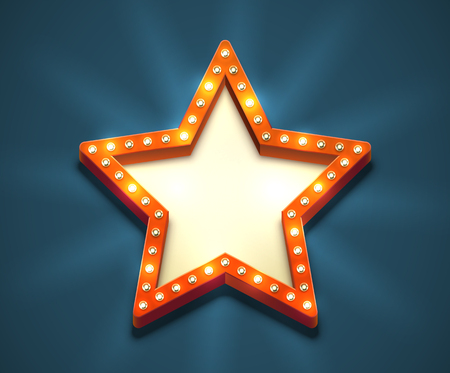 Beautiful star shaped retro empty marquee with light bulbs and yellow placeholder. Old american style red electric blank roadsign. Glowing eye-catching bright sign in the dark blue night sky. Illustration
