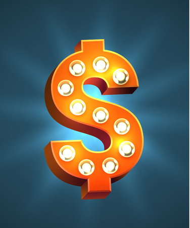 Decorated Dollar Sign isolated on colorful presentation.