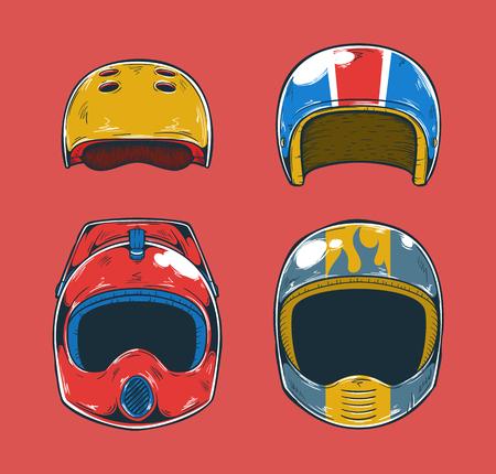Extreme Sports Helmet isolated on colorful presentation. Illustration